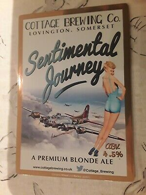 £3 • Buy Cottage Brewing, SENTIMENTAL JOURNEY,Pin Up  Art Beer Pump Clip Airplane Theme