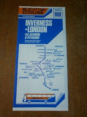 £1.50 • Buy Scottish Citylink Timetable Leaflet-Route 908 Inverness To London 1985