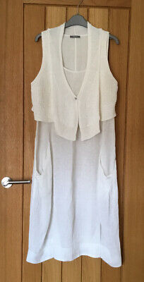 £16.50 • Buy Crea Concept White Linen And Knit Dress  Size 42 (uk 14)  Worn Once