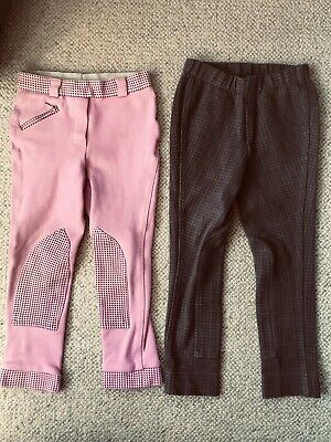 £3 • Buy Bundle 2 Pairs Girls Jodphurs, Size 3/4 Years, Shires/harry Hall, Pink, Check