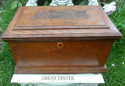 £29.99 • Buy Antique Old Arts And Crafts Hand Carved Oak Wooden Box Heart Shape Escutcheon