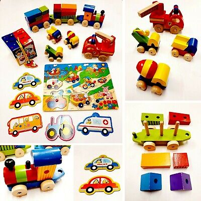 £10.99 • Buy Traditional Wooden Toys Bundle Shape Sorting Train Car Truck Fire Engine Puzzle
