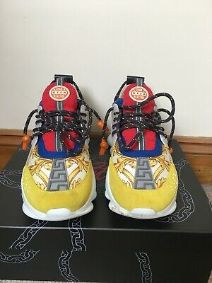 £480 • Buy Versace Chain Reaction Trainers Yellow Red Blue UK8