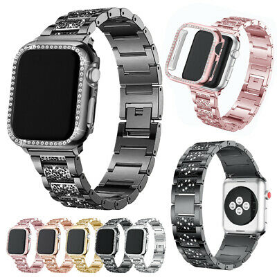 $ CDN8 • Buy Stainless Steel Band+Bling Case For Apple Watch Series 6 5 4 3 2 1 38/40/42/44mm