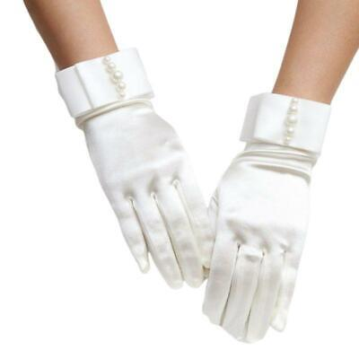 £3.37 • Buy Wedding Bridal Satin Short Gloves Pearl Beaded Double Layer Bowknot Prom Mittens