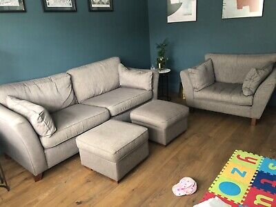 £75 • Buy M&S 3 Seater Sofa, Love Seat And 2 Footstools In Excellent Condition