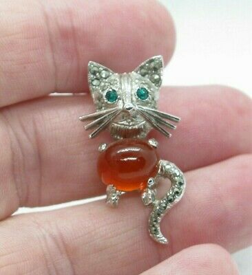 £5.99 • Buy Vintage Silver Tone Marcasite Jelly Belly Green Eyed Cat Pin Brooch