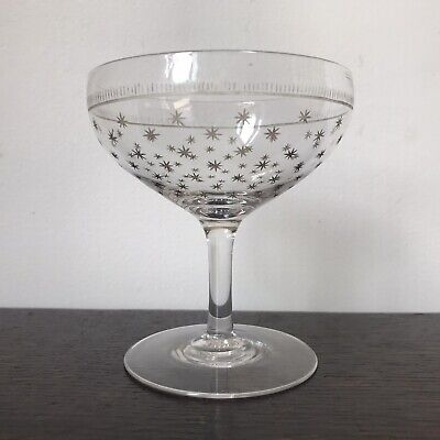 £19 • Buy Antique Victorian Gilt Star Engraved Champagne Coupe Glass