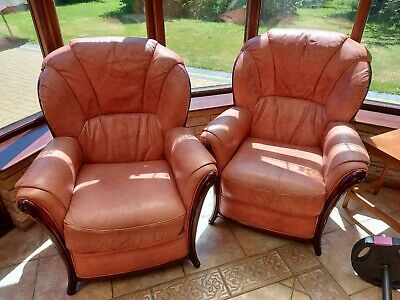 £100 • Buy 3 Seater Leather Settee, 2 Arm Chairs And Foot Stool
