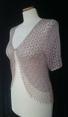 £12.99 • Buy New With Tags-after Dark-size S (uk 8/10) Beige-crochet/lurex/beaded Cardigan