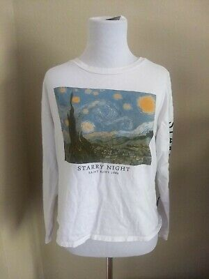 £14.48 • Buy Womens Vincent Van Gogh Long Sleeve T Shirt Starry Night Side Lettering Size S/M