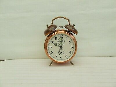 £8.50 • Buy  'Peter' Copper Twin-Bell Wind-up Alarm Clock Made In Germany / Unique Alarm Clo