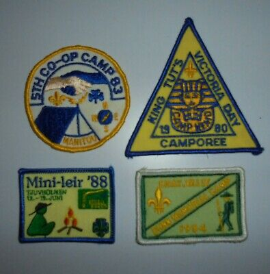 £3.50 • Buy CANADIAN SCOUT CUBS BEAVERS 1980's WOVEN BADGES X 4 CAMP BADGES
