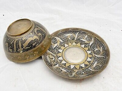 £12.95 • Buy Antique Indian Brass Bowl & Saucer Plate - Hand Engraved / Painted Pattern <D33