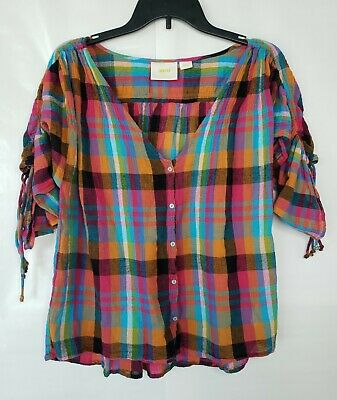 $ CDN24.83 • Buy Maeve By Anthropologie Women's Sz S Multicolored Plaid Button-up V-Neck Top