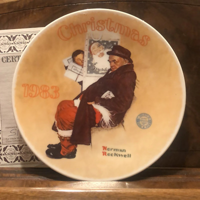 $ CDN42.63 • Buy Knowles Norman Rockwell Christmas Plate Santa In The Subway 1983