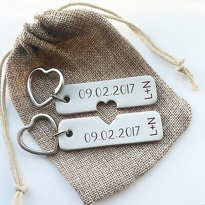 £9.99 • Buy Pair Of Personalised Leather Anniversary Date Keyring Couples Giftset Keychain