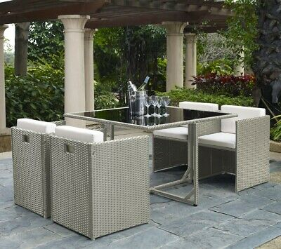 £399.99 • Buy Rattan Garden Furniture Cube 4 Seater Dining Set With Dining Table And Chairs