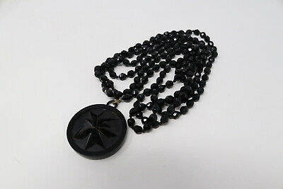 £4.04 • Buy A Wonderful Antique Victorian Costume Jewellery Whitby Jet Beaded Necklace #169