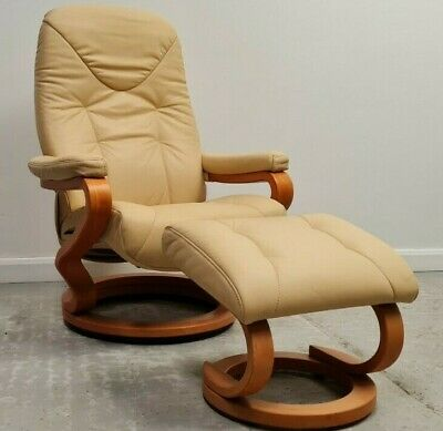 £495 • Buy Himolla Swivel Recliner Leather Chair And Stool Cream 1606216