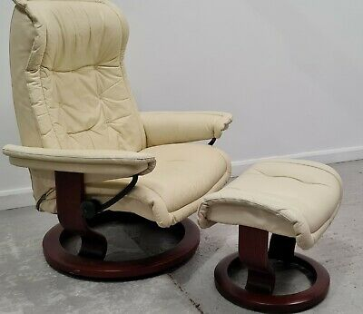 £450 • Buy Ekornes Stressless Swivel Recliner Cream Leather Chair And Stool 1606218