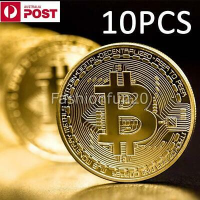 AU17.99 • Buy 10Pcs Gold Bitcoin Commemorative 2020 New Collectors Gold Plated Bit Coin NEW