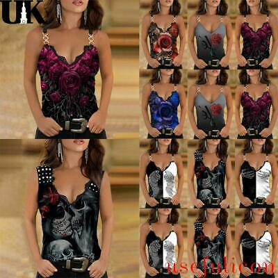 £8.66 • Buy Womens Sexy Lace V Neck Sleeveless Tee Cami Vest Tank Top Floral Print Blouse