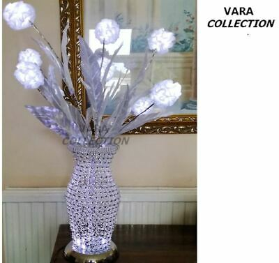 £39.98 • Buy VARA Collection Silk Fabric LED Pom Pom Flowers Lights With Polished Wire Vase