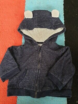 £0.99 • Buy Baby Blue Zip Up Hoodie With Cute Bear Ears  And Cosy Fleece Lining 0-3 Months