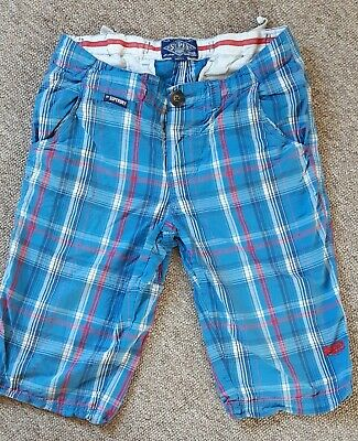 £4 • Buy Boys Super Dry Checked Blue Shorts Size Age 13 Years