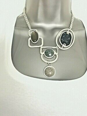 £9.95 • Buy M&S Drop Pendant Necklace Resin Stone Beads Silver Tone Modernist Arty Statement