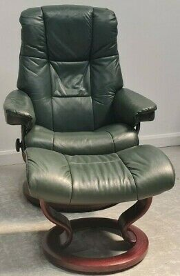 £550 • Buy Ekornes Stressless Swivel Recliner Green Leather Chair And Stool 11052118