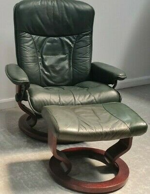 £325 • Buy Ekornes Stressless Swivel Recliner Green Leather Chair And Stool 11052120