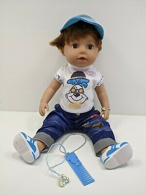 £39.99 • Buy BABY Born 43cm Brother Doll Drinks Bath Crys Complete Good Working Condition