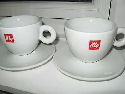 £21.99 • Buy ~ 2x Original Illy Cappuccino Cups & Saucers Made In Italy In Excellent Condit
