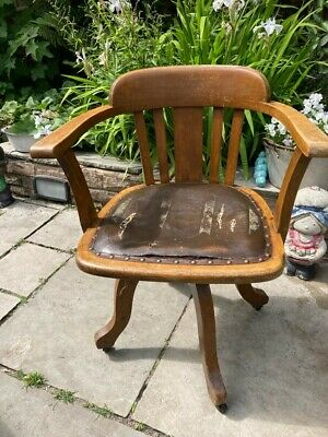 £50 • Buy Antique Birchcraft Captains Chair Brown Leather Clerks Swivel Desk Chair