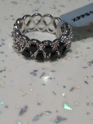 £19 • Buy Size R To S Black Spinel & White Topaz Sterling Silver Ring