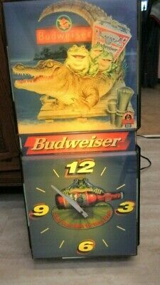 $ CDN373.51 • Buy Budweiser Anheuser-busch 1997 Frog Take Some Back To Your Pad Light Clock Sign