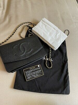 AU2581.73 • Buy AUTHENTIC CHANEL Black Caviar Leather Timeless WOC Wallet On Chain Flap