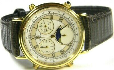 £144.69 • Buy Mens Citizen Nobilia Chronograph Moonphase Gold Plated White Dress Watch # 3570