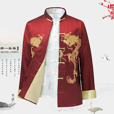 $60.06 • Buy Mens Stand Collar Tang Suit Chinese Dragon Long Sleeve Coat Embroidery Jacket L