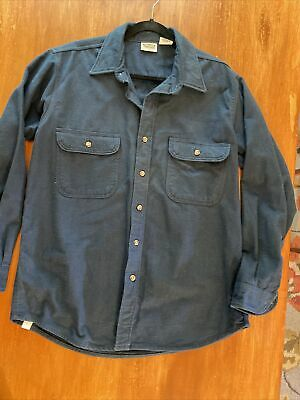 $32 • Buy VTG Five Brother Navy Blue Soft Heavy Chamois Flannel Button Work Shirt Mens L