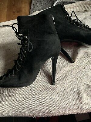 £3.90 • Buy Missguided Tie Up Black Suede Heels Boots / Shoes  Size 5