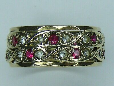 £195 • Buy Antique Ruby & White Spinel 9 Ct Gold Double Eternity Band Ring, Size N, 4.5 G
