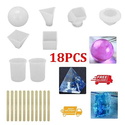 £7.29 • Buy 18Pcs Resin Casting Molds Pyramid Diamond Cube Silicone DIY  Mould Casting Kit