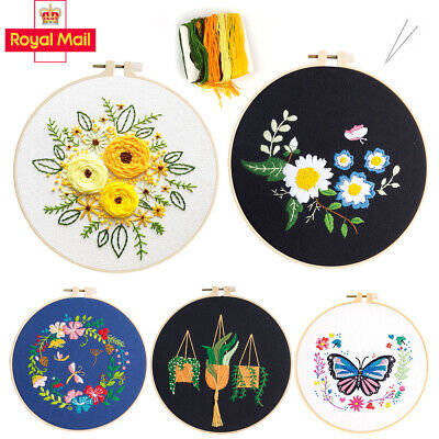 £0.99 • Buy Embroidery Cross Stitch Kit For Beginners Handmade Embroidery DIY Craft Flowers