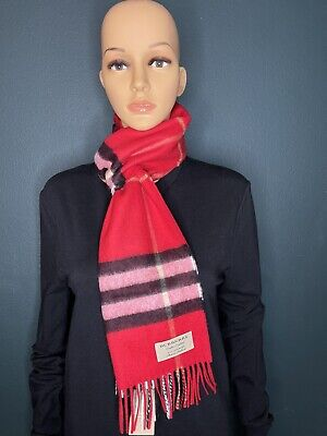£177.26 • Buy Authentic Burberry Unisex The Classic Check Cashmere Scarf Color Military Red