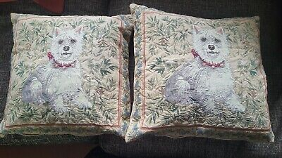 £7.95 • Buy 2x Vintage Dunelm Mill Cushions Tapestry Dog Design
