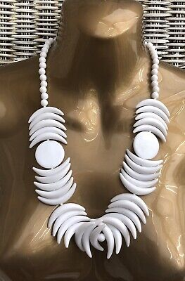£14.99 • Buy Statement White Plastic Shark Tooth Necklace Retro Mod 60s 80s Quant Wedding