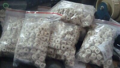 £3.95 • Buy 200 Wooden Alphabet Beads  10mm X 10mm  Clearance Line